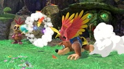 Banjo y Kazooie usando su disparo de huevos junto a Mumbo Jumbo SSBU.jpg