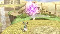 La explosión del fuego artificial en Super Smash Bros. para Wii U.