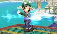 Luigi usando Ciclón Luigi en Super Smash Bros. Brawl