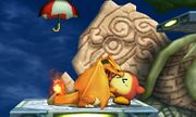 Charizard mordiendo a un Waddle Dee Sombrilla en la Smashventura SSB4 (3DS).jpg