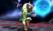 Espadachín Mii con el traje de Link y la Máscara de Majora en Destino Final SSB4 (3DS).jpg