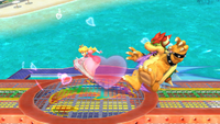 Peach usando la Bomba Peach contra Bowser en Super Smash Bros. for Wii U