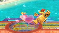 Peach usando la Bomba Peach contra Bowser en Super Smash Bros. para Wii U