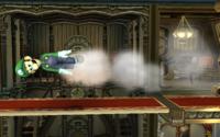 Luigi usando el ataque Misil verde en Super Smash Bros. Brawl