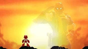 Mega Man admirando la ilusión de Captain Falcon SSBU.png