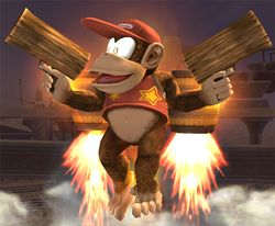 Diddy Kong usando Barrilada en Super Smash Bros. Brawl
