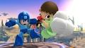 Mega Man y el Aldeano con unas verduras en el Campo de Batalla SSB4 (Wii U).jpg