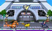 Charizard, Pikachu y Greninja en la Torre Prisma SSB4 (3DS).jpg