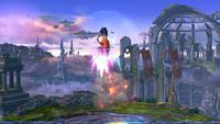 Un Tirador Mii utilizando Gancho Cohete en Super Smash Bros. for Wii U