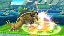 Ataque Smash lateral de Giga Bowser