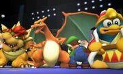 Charizard, Luigi, Rey Dedede y Bowser en el Ring de Boxeo SSB4 (Wii U).jpg