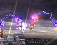 Lucas y Ness usando Trueno PSI en Super Smash Bros. Brawl