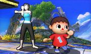 Entrenadora de Wii Fit y Aldeano en Campo de batalla SSB4 (3DS).jpg