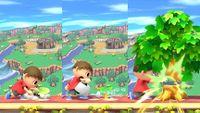 El Aldeano plantando, regando y talando el árbol en Super Smash Bros. for Wii U.