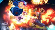 Captain Falcon atacando a Mega Man en el Castillo de Dr. Wily SSB4 (Wii U).jpg