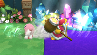 Kirby y el Rey Dedede usando el movimiento en Super Smash Bros. for Wii U