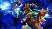 Diddy Kong usando su ataque aéreo hacia atrás contra Samus y Lucario SSB4 (Wii U).jpg