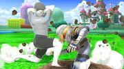 Entrenador de Wii Fit y Sheik en 3D Land SSBU.jpg