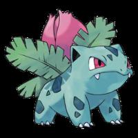Diseño de Ivysaur en Pokémon Edición Rojo Fuego y Edición Verde Hoja