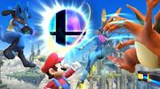 Mario, Charizard, Lucario y Samus Zero junto a la Bola Smash SSB4 (Wii U).png