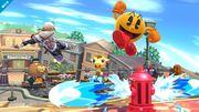 Sheik y Pac-Man en Sobrevolando el pueblo SSB4 (Wii U).jpg