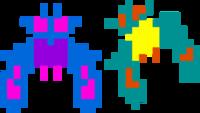Sprite de las dos versiones de Jefes Galaga en Galaga.