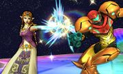 Zelda usando su ataque normal contra Samus en la Senda Arco Iris SSB4 (3DS).jpg