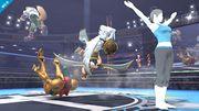 Entrenadora de Wii Fit alzando las manos en SSB4 (Wii U).jpg