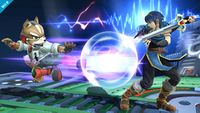 Marth realizando Bloqueo contra Fox en Super Smash Bros. for Wii U.