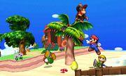 Yoshi, Mario, Diddy Kong y Toon Link en la Isla Tórtimer SSB4 (3DS).jpg