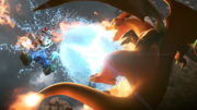 Shuriken de agua interrumpiendo a Mario y Charizard Trailer SSB4.png