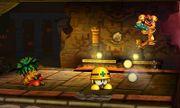 Samus junto a un Mettaur y un Octorok en la Smashventura SSB4 (3DS).jpg