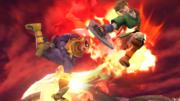 Captain Falcon usando su Salto depredador en el aire contra Link SSB4 (Wii U).png