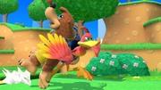 Banjo y Kazooie corriendo en la Isla de Yoshi (Melee) SSBU.jpg