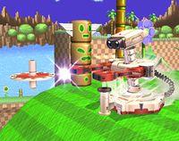 R.O.B. lanzando el Gyro en Super Smash Bros. Brawl