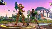 Samus y Little Mac realizando sus respectivas burlas en el Campo de Batalla - (SSB. for Wii U).jpg