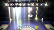 Palutena haciendo Luz celestial y Pikachu realizando trueno junto con Zelda en el Ring do boxeo en SSBWiiU.png