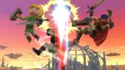 Little Mac haciendo Gancho demoledor en Ike y Toon Link en el Campo de batalla SSBWiiU.png