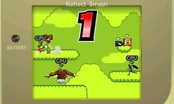 Los últimos 5 segundos de un combate por tiempo en Super Smash Bros. for Nintendo 3DS, mostrando la luz del Game Boy apagada.