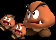 Artwork de un Goomba gigante y dos Goombas en New Super Mario Bros. Wii.png