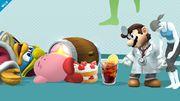 Dr. Mario, la Entrenadora de Wii Fit, Kirby y el Rey Dedede en la Sala de Wii Fit SSB4 (Wii U).jpg