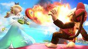 Estela usando la Flor de fuego contra Diddy Kong SSB4 (Wii U).jpg