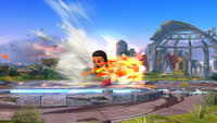Karateka Mii usando Patada explosiva en Super Smash Bros. para Wii U