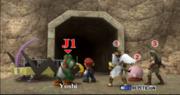 Link Pit Mario Kirby y Yoshi seleccion La orilla del lago (2) ESE SSBB.png