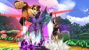 Bayonetta atacando a Donkey Kong en la Jungla escandalosa SSB4 (Wii U).jpg