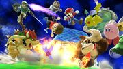Bowser, Aldeano, Link, Mario, Fox, Donkey Kong, Kirby y Pikachu en Galaxia Mario SSB4 (Wii U).jpg