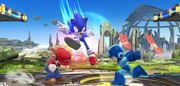 Mario Mega Man y Sonic en Campo de Batalla SSB4 (Wii U).jpg