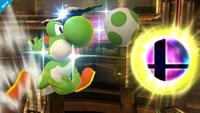 Yoshi usando el movimiento en el aire en Super Smash Bros. para Wii U.