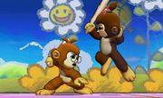 Dos Espadachines Mii hombre y mujer en Isla de Yoshi SSB4 (3DS).jpg