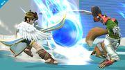 Sonic Pit y Fox en la zona de entrenamiento SSB4 (Wii U).jpg